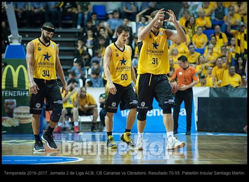 Temporada 2016-2017. Jornada 2 de Liga ACB. CB Canarias vs Obradoiro. Resultado 70-55. Pabellón Insular Santiago Martín.