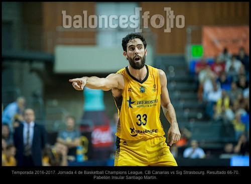 Temporada 2016-2017. Jornada 4 de Basketball Champions League. CB Canarias vs Sig Strasbourg. Resultado 66-70. Pabellón Insular Santiago Martín.