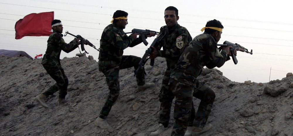 Integrantes de la milicia chiíta iraquí Kitab al-Abbas.