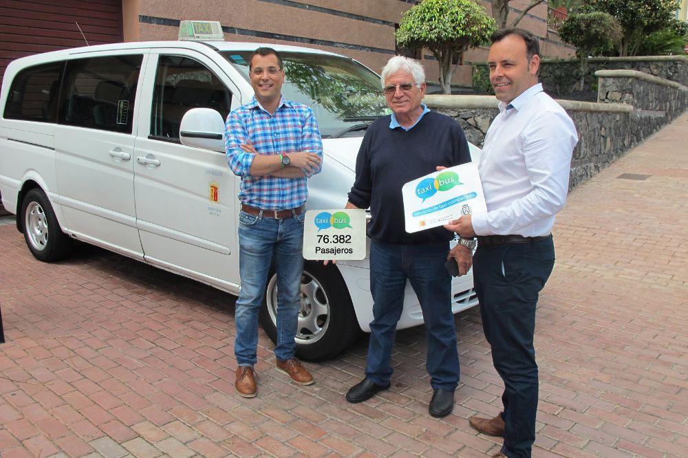 Taxistas con uno de los vehículos que realiza el servicio objeto de distinción.