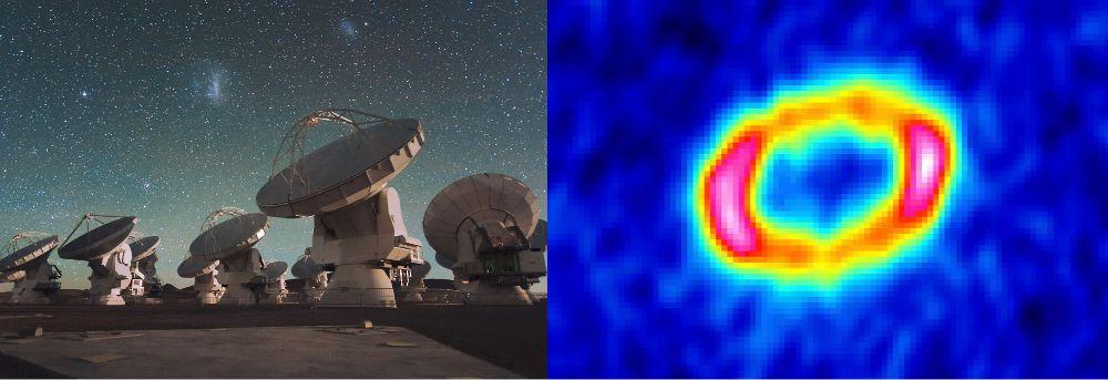 Izquierda: Antenas del radio telescopio ALMA. Durante la observación las antenas operan para funcionar como un telescopio de varios kilómetros de diámetro. ESOC. Malin Derecha: Imagen obtenida por ALMA (en falso color) que muestra un nítido anillo de polvo en torno a la estrella Sz 91. La estrella está en el centro de la cavidad del anillo, pero no se ve puesto que ALMA solo es sensible a la luz emitida por los granos de polvo que componen el anillo. Desde la Tierra el anillo parece estar inclinado y por eso la estructura no es circular, sino que tiene forma de elipsoide. Cánovas et al. 2016, MNRASALMA