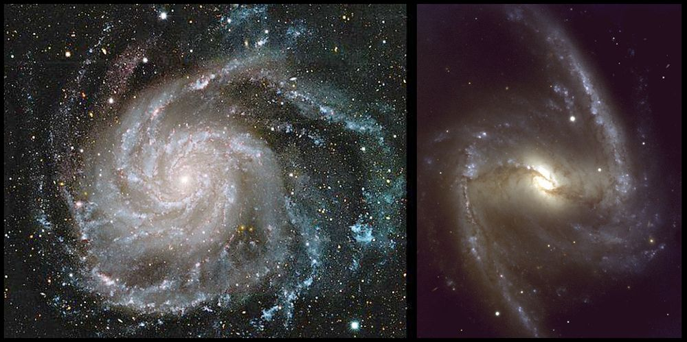 Dos imágenes de sendas galaxias con brazos espirales. M101 (izquierda) muestra múltiples brazos delineados por estrellas masivas azules y brillantes. Los dos brazos de NGC 1635 (derecha), también salpicados de estrellas azules, salen de los extremos de la barra de estrellas. Astronomy Picture of the Day, NASA