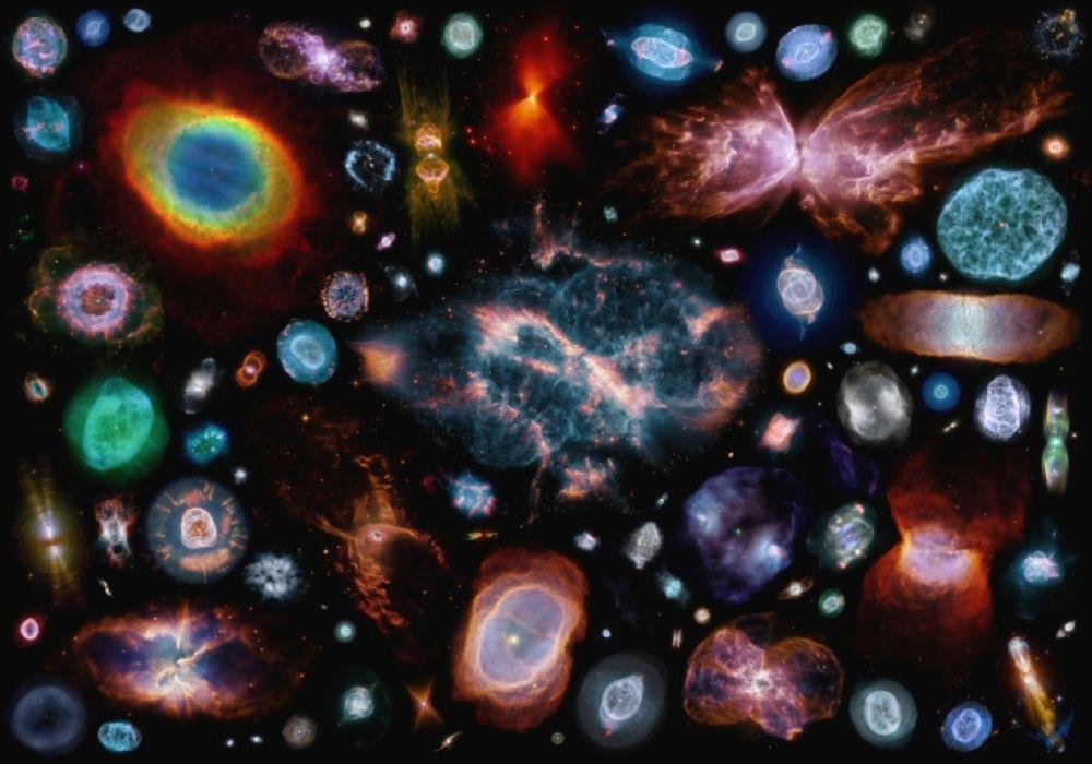 Composición con imágenes de más de cien nebulosas planetarias para ilustrar la gran variedad de morfologías: desde esféricas hasta bipolares, pasando por multipolares y elípticas. Crédito: Judy SchmidtNASA