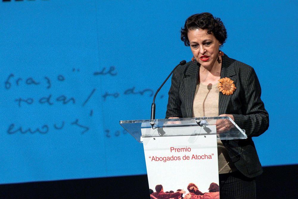 La ministra de Trabajo, Magdalena Valerio, durante la entrega del premio 'Abogados de Atocha 2019'.