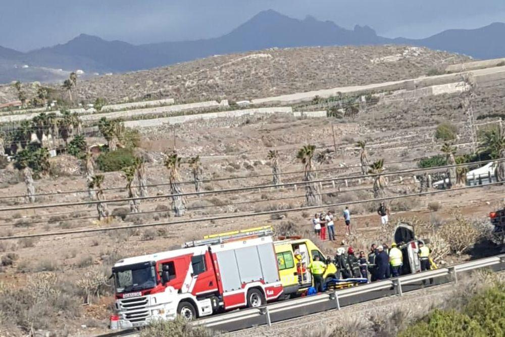 Un hombre de 40 años, herido grave en un accidente de tráfico en la carretera TF-47